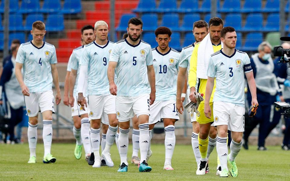 Andy Robertson and the Scotland squad - Scotland perform u-turn on decision not to take the knee at Euro 2020 - REUTERS