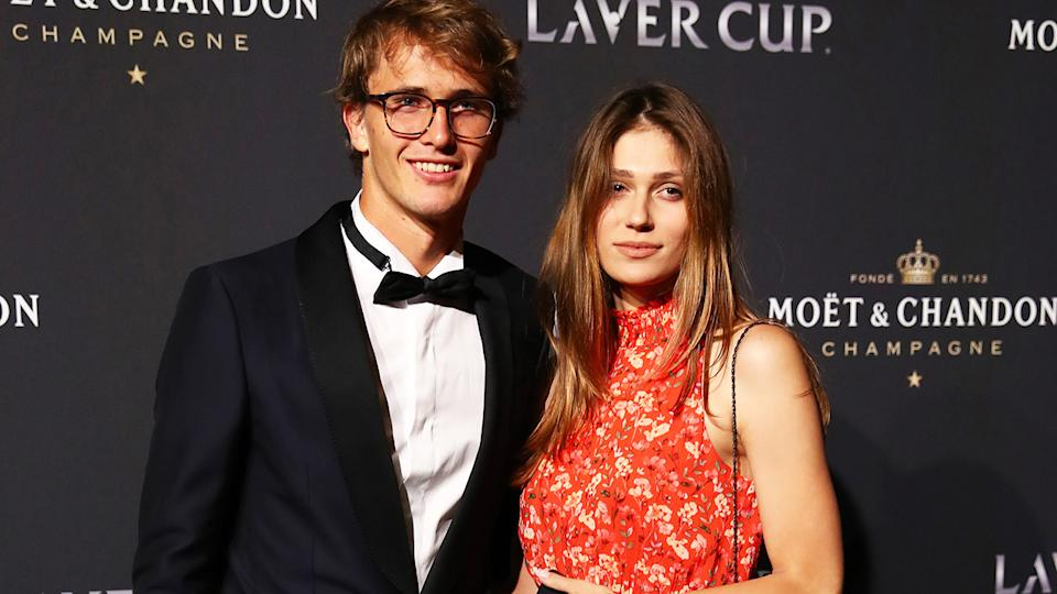 Alexander Zverev and Olga Sharypova at the Laver Cup in 2019. (Photo by Clive Brunskill/Getty Images for Laver Cup)