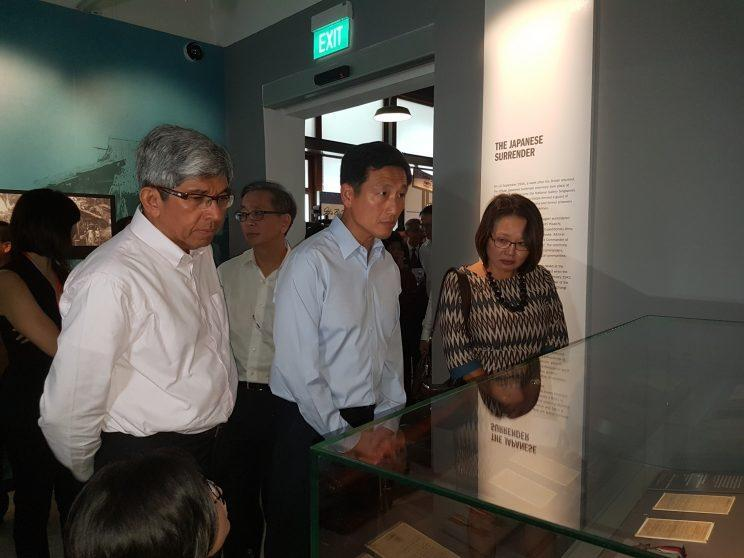 Minister for communications and Information, Yaacob Ibrahim, left, with Minister for Education and Second Minister for Defence, Ong Ye Kung along with Member of Parliament, Sylvia Lim, looking at exhibits at the Syonan Gallery: War and Its Legacies. Photo: Safhras Khan)