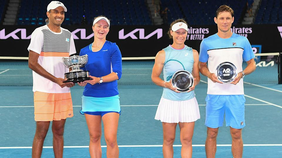 Sam Stosur and Matt Ebden, pictured here after the Australian Open mixed doubles final.