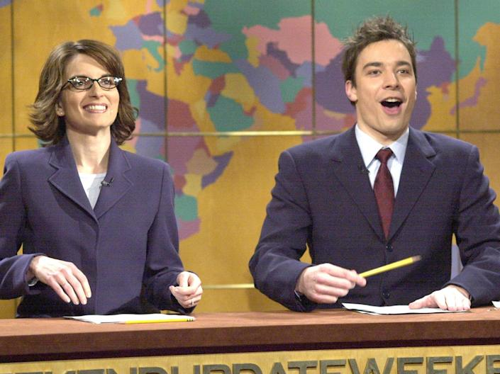 Tina Fey and Jimmy Fallon at the Weekend Update desk in 2002Rex Features