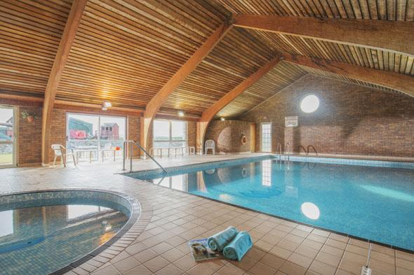 The indoor swimming pool at 500-acre farm The Olde House in Chapel Amble, North Cornwall. Families can stay in a wide selection of holiday cottages on site.