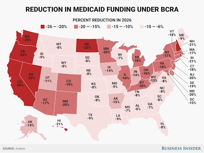 drop in Medicaid funding by state