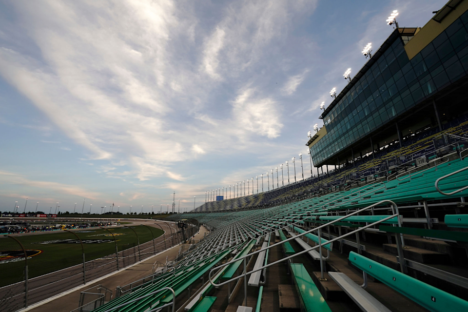 A general view of empty stands during a NASCAR Cup race at Kansas Speedway.