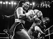 <p>Olympic champion Claressa Shields (right) meets Hanna Gabriels in a boxing match at the Masonic Temple in Detroit, Michigan, USA, on 22 June. (Terrell Groggins) </p>