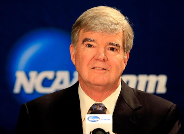 ARLINGTON, TX - APRIL 06: NCAA President Mark Emmert speaks to the media during a press conference at AT&T Stadium on April 6, 2014 in Arlington, Texas. (Photo by Jamie Squire/Getty Images)