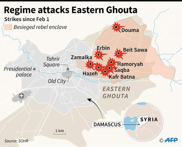 Map of Damascus locating regime air strikes on civilians in the besieged rebel enclave in Eastern Ghouta