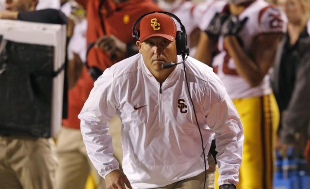 Clay Helton is 32-15 as USC's head coach, but Trojans fans aren't exactly happy with him this season. (AP)