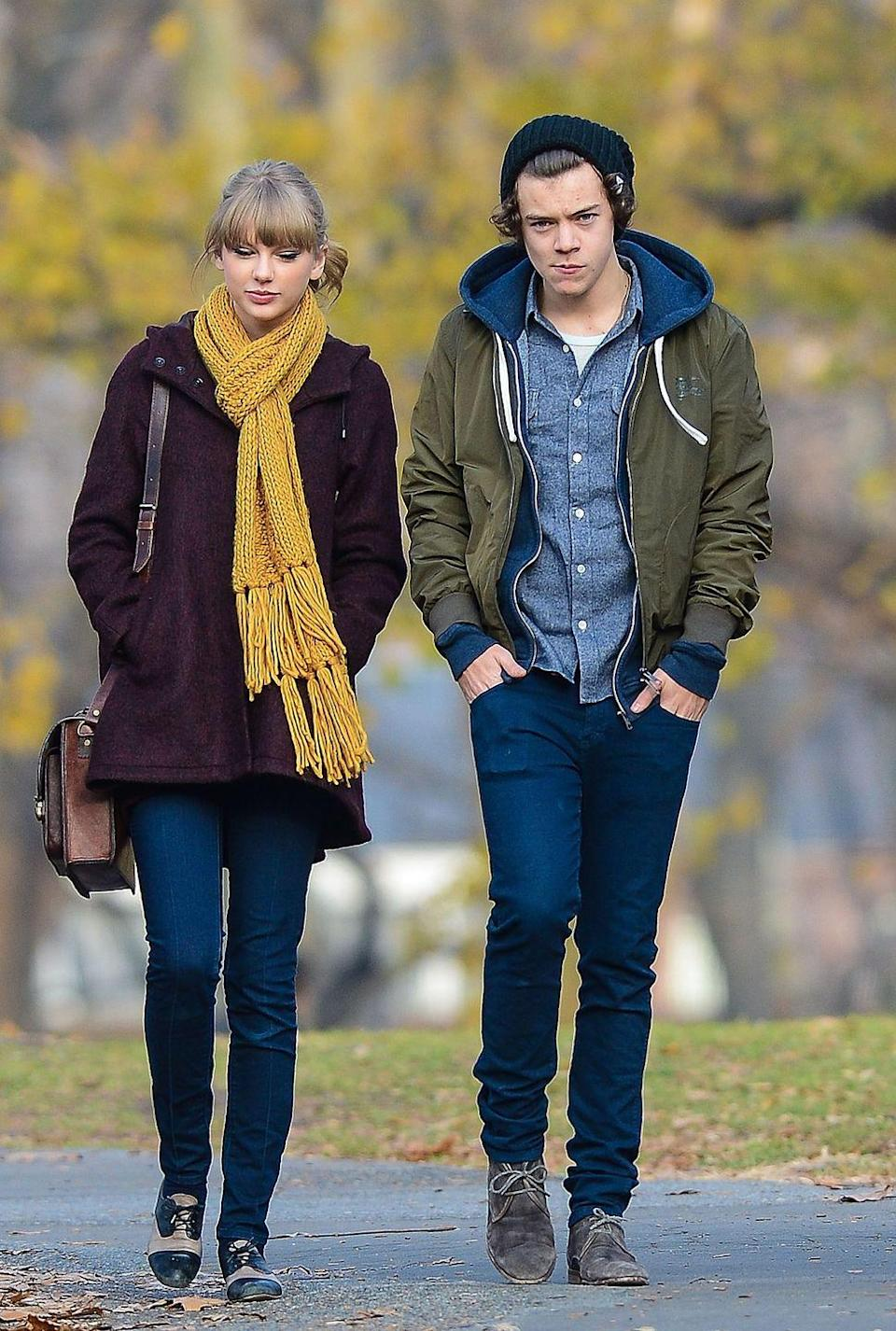 "<p>Besides writing songs about Harry (""I Knew You Were Trouble,"" ""Style,"" to name a couple) Taylor also delivered performances about her ex-boyfriend. In 2013, Taylor opened the Grammys with ""We Are Never Ever Getting Back Together"" (that one's about Jake Gyllenhaal) with Harry watching in the audience. When it came to the speaking part about him calling her, <a href=""https://www.youtube.com/watch?v=wVFTpNcI2hI"" rel=""nofollow noopener"" target=""_blank"" data-ylk=""slk:Taylor used a British accent"" class=""link rapid-noclick-resp"">Taylor used a British accent</a> and tweaked the lyrics to ""I'm busy opening the Grammys."" Later that year, in her acceptance speech for Best Female Video for ""I Knew You Were Trouble"" at the VMAs, Taylor thanked ""the person who inspired this song, who knows exactly who he is, because now I got one of these. Thank you so much!"" (This is also the <a href=""https://www.huffingtonpost.com/2013/08/25/taylor-swift-harry-styles-vmas-shut-the-fuck-up_n_3814782.html"" rel=""nofollow noopener"" target=""_blank"" data-ylk=""slk:same ceremony"" class=""link rapid-noclick-resp"">same ceremony</a> where she was caught mumbling ""Shut the fuck up"" during 1D's acceptance speech.)</p>"