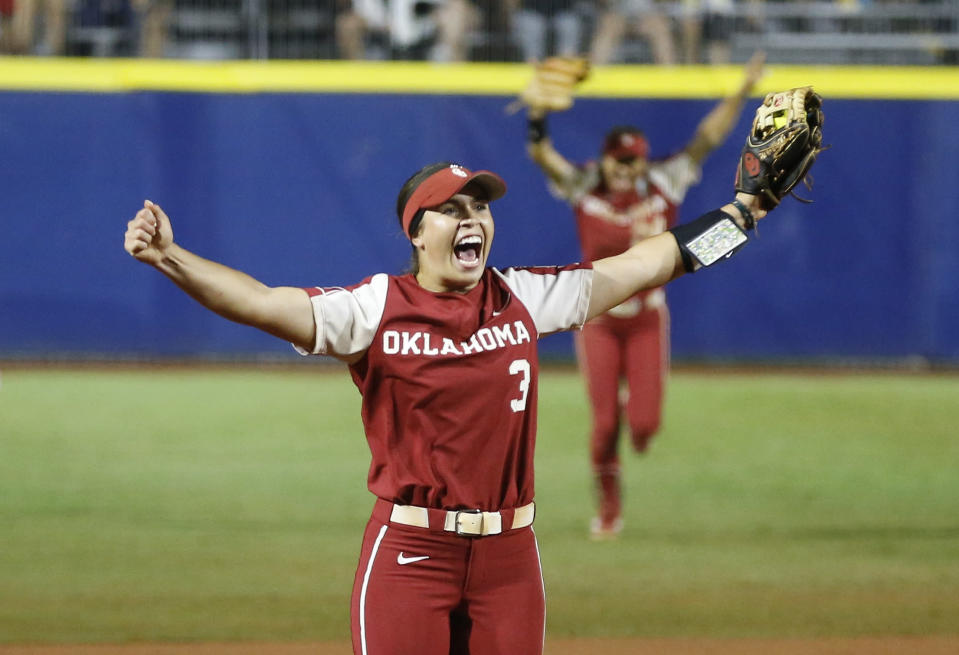 Oklahoma shortstop Grace Lyons (3) celebrates after making a catch for the final out against UCLA in an NCAA Women's College World Series softball game Saturday, June 5, 2021, in Oklahoma City. (AP Photo/Alonzo Adams)