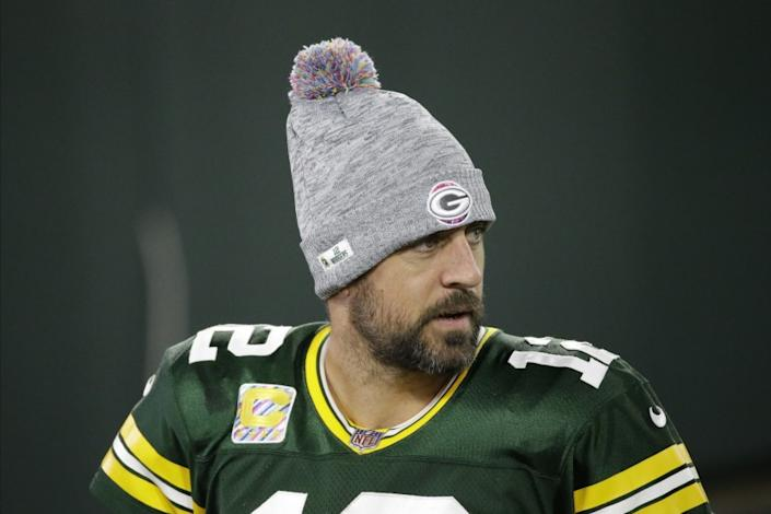 Green Bay Packers quarterback Aaron Rodgers leaves the field following an NFL football game against the Atlanta Falcons, Monday, Oct. 5, 2020, in Green Bay, Wis. (AP Photo/Mike Roemer)