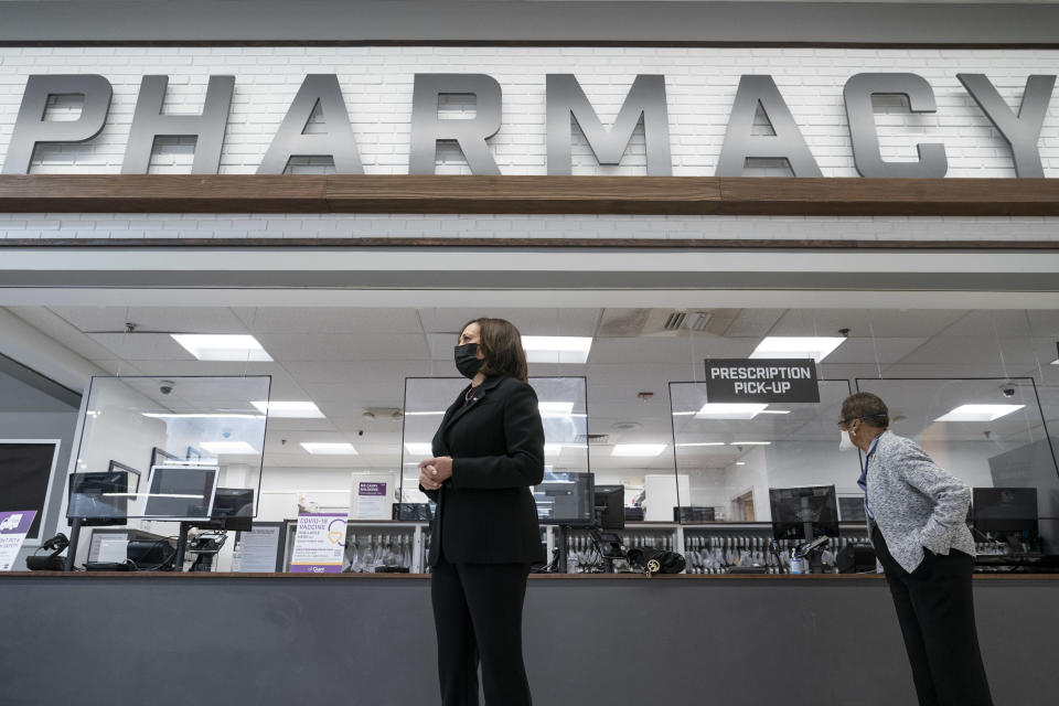 WASHINGTON, DC - FEBRUARY 25: U.S. Vice President Kamala Harris visits the pharmacy of a Giant Foods grocery store to promote the Biden Administrations Federal Retail Pharmacy Program for COVID-19 vaccination on February 25, 2021 in Washington, DC. Over 50 million doses of coronavirus vaccines have been administered so far in the United States. (Photo by Drew Angerer/Getty Images)