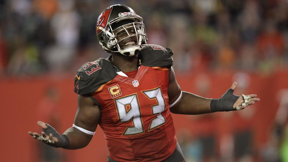 Tampa Bay Buccaneers defensive tackle Gerald McCoy (93) after sacking Seattle Seahawks quarterback Russell Wilson during the fourth quarter of an NFL football game, in Tampa, FlaSeahawks Buccaneers Football, Tampa, USA - 27 Nov 2016.