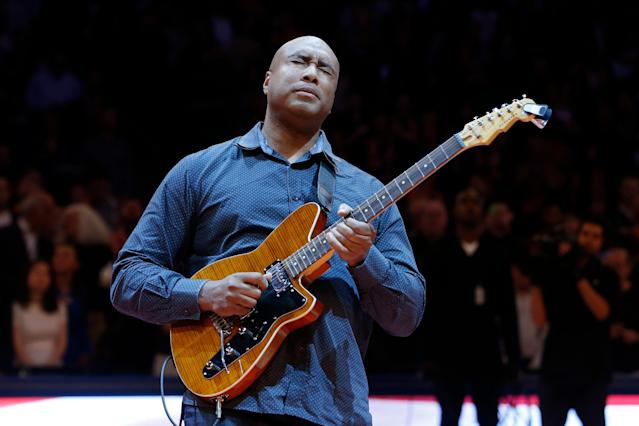 Bernie Williams spends every May advocating for music education, which he says helped make him. (AP Photo/Jason DeCrow)