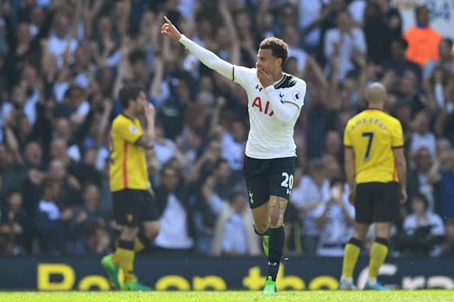 "<p><a href=""https://uk.sports.yahoo.com/news/tottenham-close-gap-chelsea-four-points-hammering-watford-131930039.html"" data-ylk=""slk:Dele Alli celebrates making it 1-0;outcm:mb_qualified_link;_E:mb_qualified_link"" class=""link rapid-noclick-resp newsroom-embed-article"">Dele Alli celebrates making it 1-0</a> </p>"