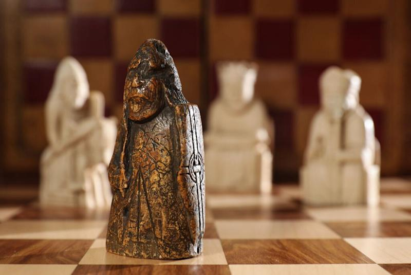 A newly discovered Lewis Chessman at Sotheby's in London, England. Source: Getty