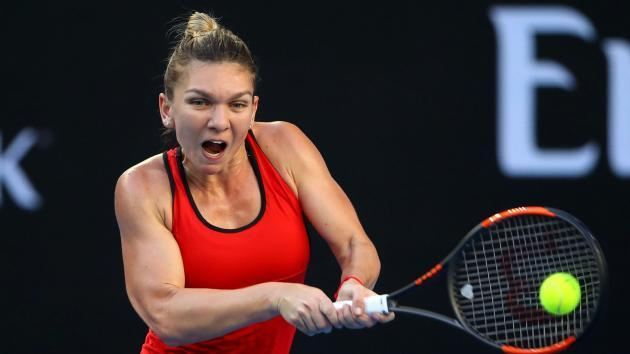 <p>Halep eases past struggling Bouchard</p>