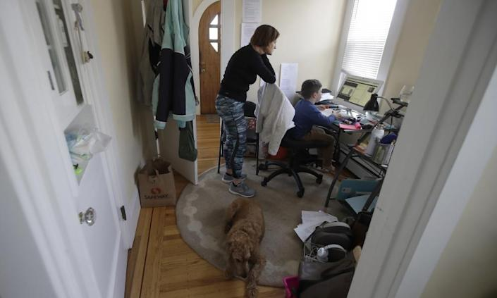 "<span class=""element-image__caption"">Rebecca Biernat watches as her son Seamus Keenan, six, takes a live class online at their home in San Francisco.</span> <span class=""element-image__credit"">Photograph: Jeff Chiu/AP</span>"