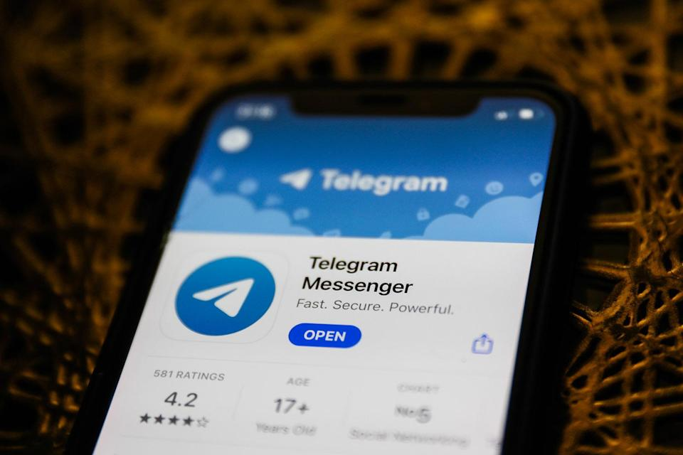 Telegram Messenger logo on the App Store is seen displayed on a phone screen in this illustration photo taken in Poland on January 14, 2021. Signal and Telegram messenger apps gained popularity due to the new WhatsApp's privacy policy. (Photo illustration by Jakub Porzycki/NurPhoto via Getty Images)