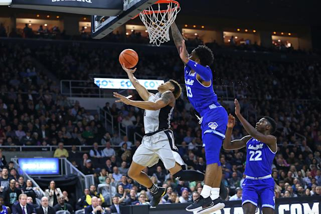 The Seton Hall vs. Providence game was postponed in the second half due to floor condensation. (Photo by M. Anthony Nesmith/Icon Sportswire via Getty Images)