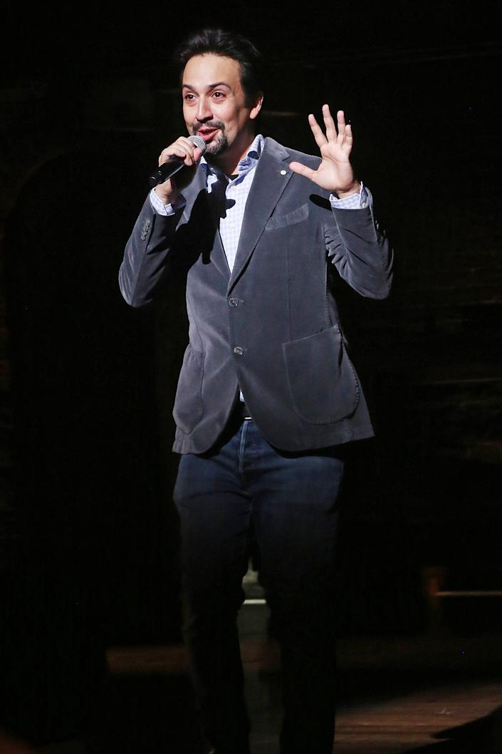 <p>Lin-Manuel Miranda makes a surprise appearance to welcome the audience back to Broadway on the re-opening night of <i>Hamilton</i> on Sept. 14 in N.Y.C. </p>