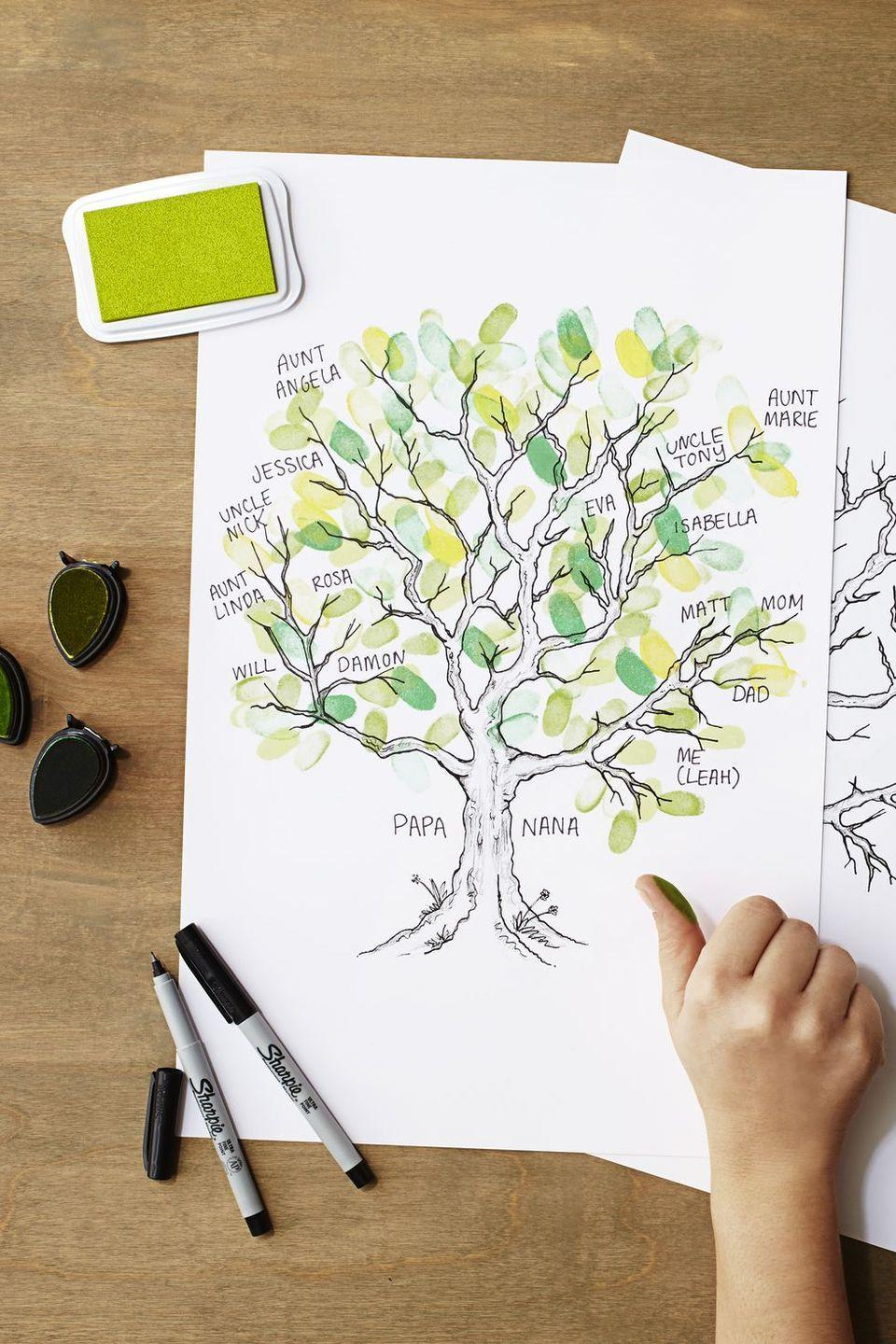 "<p>What better time to put together a comprehensive family tree than when the whole family is together? Using everyone's fingerprints will make it even more meaningful. Use red and orange ink to give this craft a seasonal spin.</p><p><em><a href=""https://www.goodhousekeeping.com/home/craft-ideas/a37873/family-tree-craft-for-kids/"" rel=""nofollow noopener"" target=""_blank"" data-ylk=""slk:Get the tutorial »"" class=""link rapid-noclick-resp"">Get the tutorial »</a></em></p><p><strong>RELATED: </strong><a href=""https://www.goodhousekeeping.com/holidays/thanksgiving-ideas/g2907/thanksgiving-kids-crafts/"" rel=""nofollow noopener"" target=""_blank"" data-ylk=""slk:36 Easy Thanksgiving Crafts for Kids for a Fun Holiday"" class=""link rapid-noclick-resp"">36 Easy Thanksgiving Crafts for Kids for a Fun Holiday</a></p>"