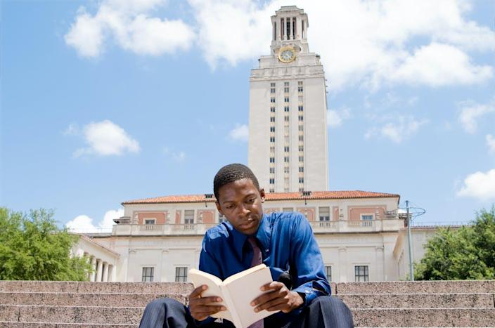 """<span class=""""caption"""">The plan sought to broaden high schools sending students to public colleges in Texas.</span> <span class=""""attribution""""><a class=""""link rapid-noclick-resp"""" href=""""https://www.gettyimages.com/detail/photo/student-reading-on-steps-main-building-university-royalty-free-image/179292229?adppopup=true"""" rel=""""nofollow noopener"""" target=""""_blank"""" data-ylk=""""slk:qingwa via iStock/Getty Images Plus"""">qingwa via iStock/Getty Images Plus</a></span>"""