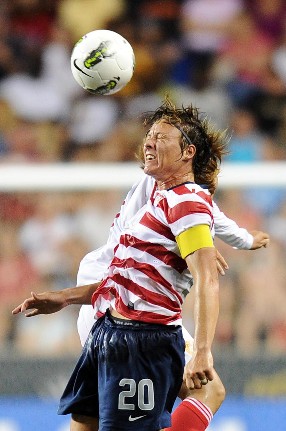 Abby Wambach heads the ball during the game against China at PPL Park on May 27, 2012, in Chester, Penn. The U.S. won 4-1. (Photo by Drew Hallowell/Getty Images)