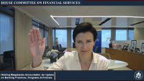 This image from video provided by the House Financial Services Committee shows Citigroup CEO Jane Fraser being sworn in to testify virtually to the House Financial Services Committee Thursday, May 27, 2021. (House Financial Services Committee via AP)