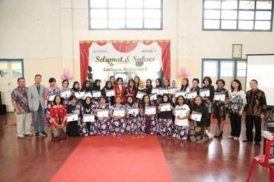"""In March 2021, KT&G established the """"KT&G Indonesia Job Training Center"""" to initiate free technical training for low income families.  The photo shows the trainees of the first completion ceremony in May at the vocational training center in Indonesia."""