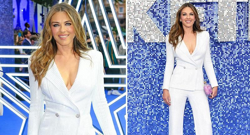 Elizabeth Hurley wore a white Versace suit at Cannes. [Photo: Getty]