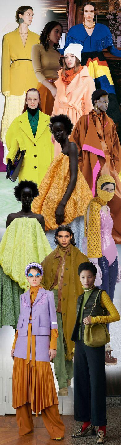 <p>Saturated shades have entered the conversation. The color play is off-kilter, slightly skewed, and unexpected—a little like life itself. It's mustard meets lemon at Jil Sander, bubblegum pink and marigold at Miu Miu, rust and lavender at Patou—complementary and secondary hues of the color wheel all mixed up and topsy-turvy. All the better to make you look twice. </p><p><em>Pictured from top to bottom: Jil Sander, Oscar de la Renta, Loewe, Akris, Prada, JW Anderson, Roksanda, JW Anderson, Miu Miu, Alberta Ferretti, Patou, and Tory Burch. </em></p>