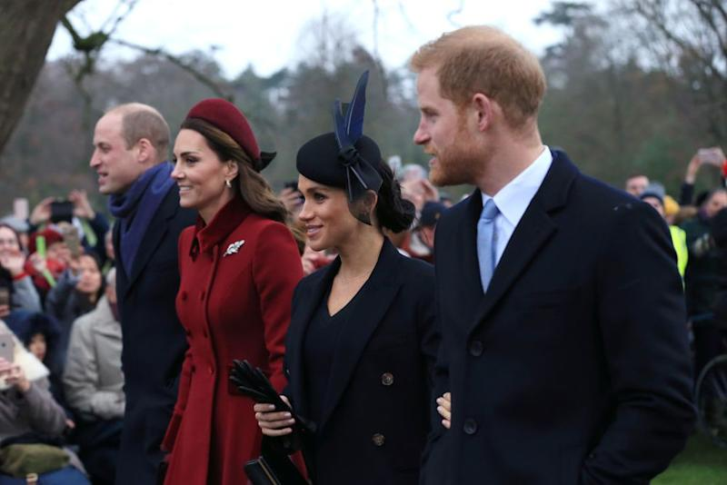 Prince William, Duke of Cambridge, Catherine, Duchess of Cambridge, Meghan, Duchess of Sussex and Prince Harry, Duke of Sussex attend a Christmas Day Church service on December 25, 2018 in King's Lynn, England. (Photo by Stephen Pond/Getty Images)