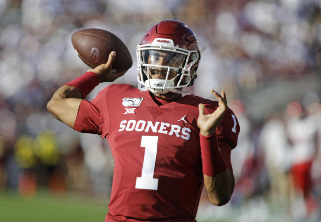 Oklahoma QB Jalen Hurts had a sterling debut for the Sooners, even if his NFL draft stock remains in flux. (Getty Images)