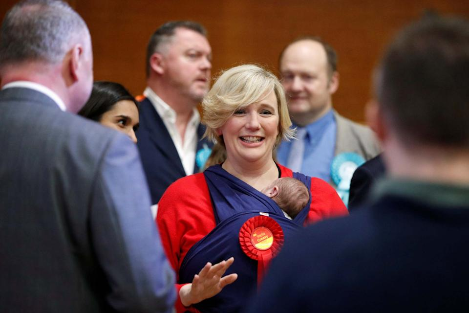 Stella Creasy was also pictured carrying her baby daughter on election night in December, 2019 (REUTERS)