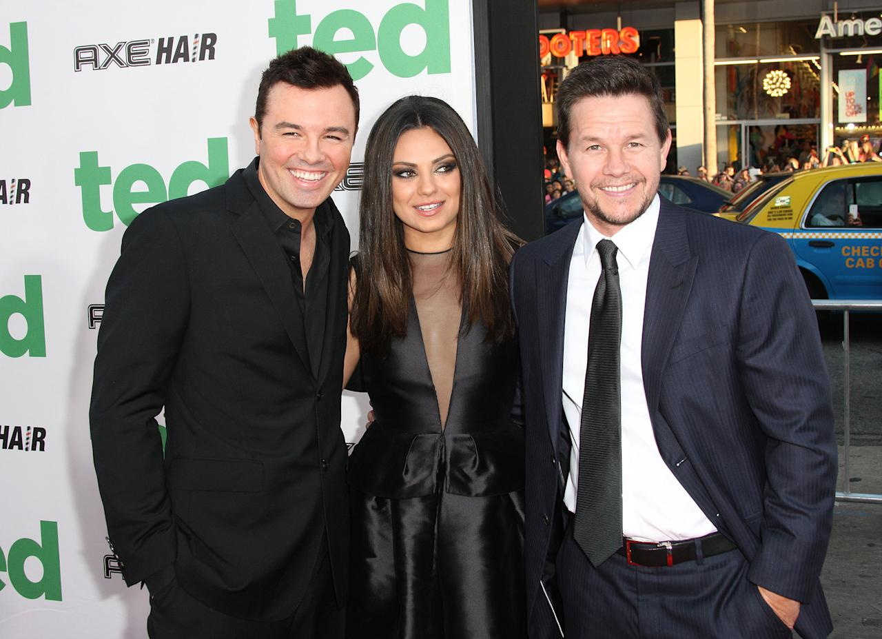 "HOLLYWOOD, CA - JUNE 21: (L-R) Actor Seth MacFarlane, actress Mila Kunis and actor Mark Wahlberg attend the premiere of Universal Pictures' ""Ted"" at Grauman's Chinese Theatre on June 21, 2012 in Hollywood, California.  (Photo by Frederick M. Brown/Getty Images)"