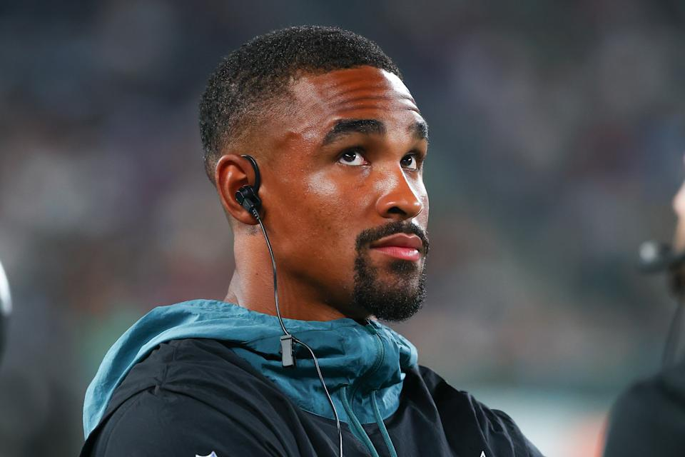 Philadelphia Eagles quarterback Jalen Hurts says he's not fazed by the idea that he might be a temporary starter there. (Photo by Rich Graessle/Icon Sportswire via Getty Images)