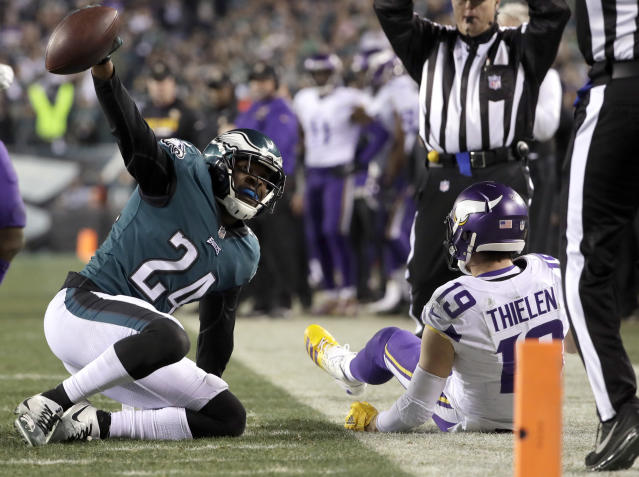 <p>Philadelphia Eagles' Corey Graham reacts after intercepting a pass from Minnesota Vikings' Adam Thielen during the second half of the NFL football NFC championship game Sunday, Jan. 21, 2018, in Philadelphia. (AP Photo/Matt Slocum) </p>