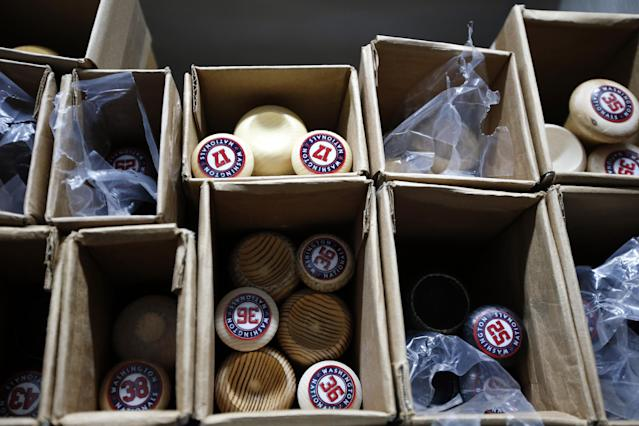 Bats for the Washington Nationals are stowed away in boxes in the equipment room at their spring training baseball facility, Thursday, Feb. 13, 2014, in VIera, Fla. (AP Photo/Alex Brandon)