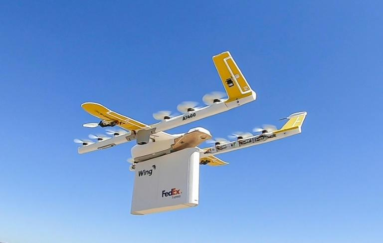This handout photo shows one of the Wing drones used to make deliveries