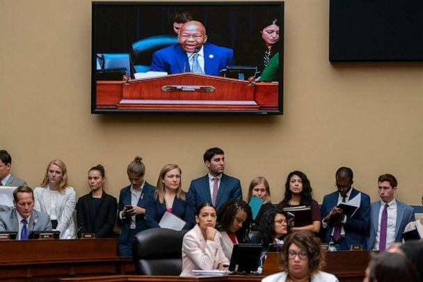 PHOTO: House Oversight and Reform Committee Chairman Elijah E. Cummings is seen on a monitor during a meeting in Washington, June 12, 2019. (J. Scott Applewhite/AP)