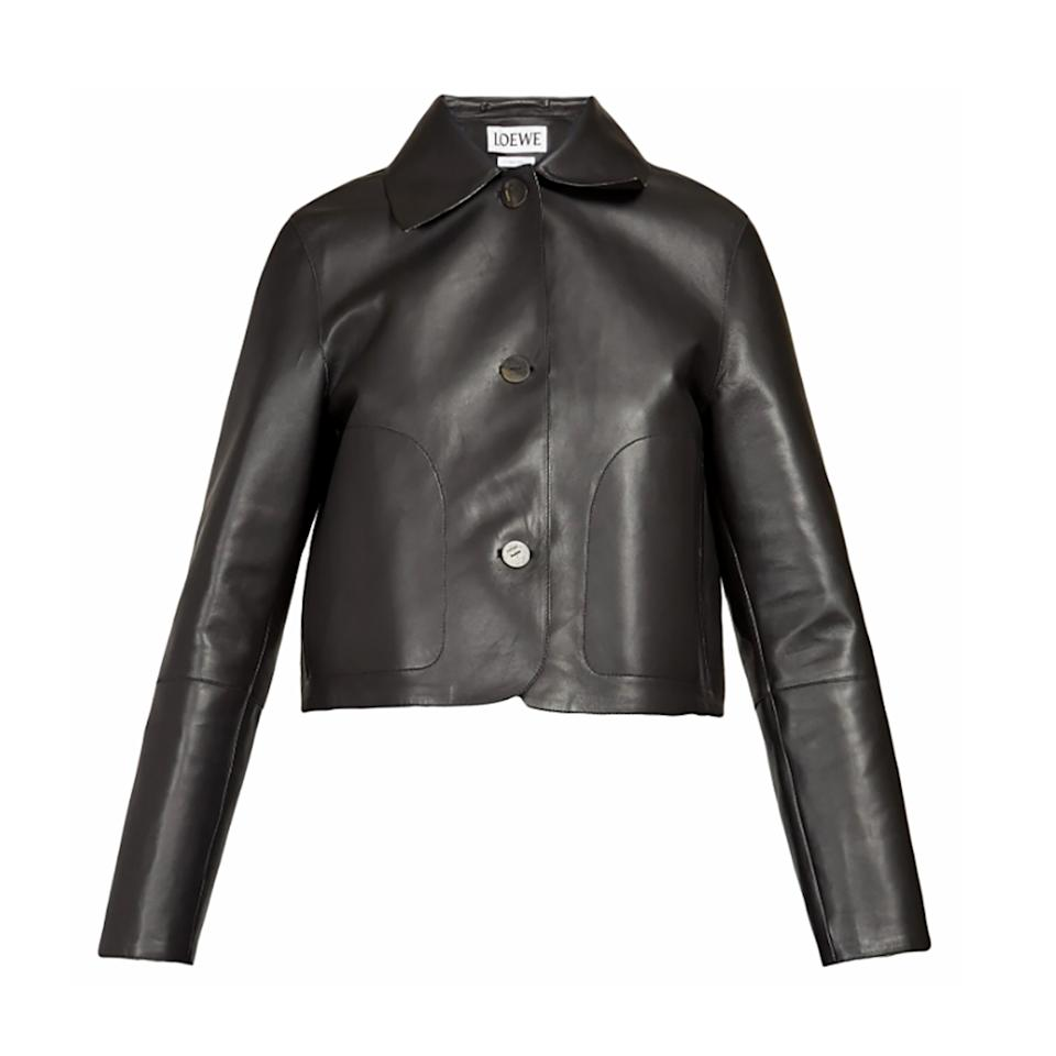 """<p>A black leather jacket is beautifully bad ass, whether you prefer a motorcycle style or a sleeker silhouette. The cropped length and round collar of this Loewe number will add edge to any ensemble.</p> <p><strong>Buy Now:</strong> Loewe jacket, $2,990. <a href=""""https://www.matchesfashion.com/us/products/Loewe-Cropped-leather-jacket-1281331"""">matchesfashion.com</a>.</p>"""