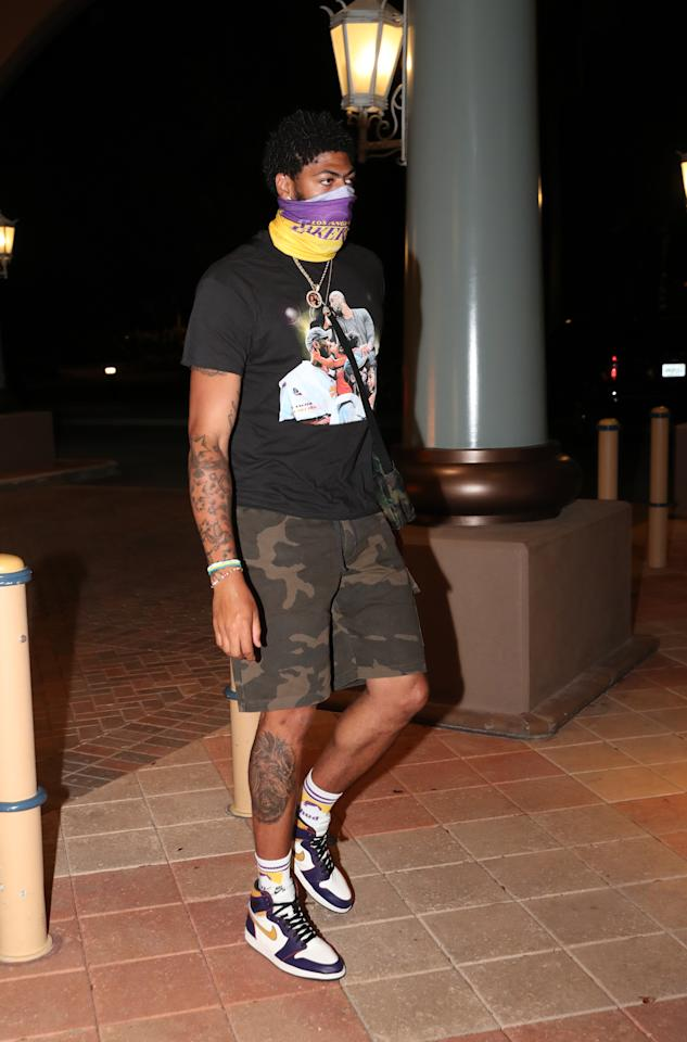Anthony Davis #3 of the Los Angeles Lakers arrives at the hotel as part of the NBA Restart 2020 on July 9, 2020 in Orlando, Florida. (Photo by Joe Murphy/NBAE via Getty Images)
