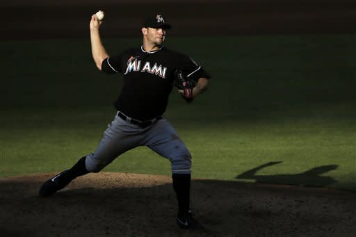 Miami Marlins' Josh Johnson pitches in the fourth inning of a baseball game against the Philadelphia Phillies, Wednesday, Sept. 12, 2012, in Philadelphia. (AP Photo/Matt Slocum)