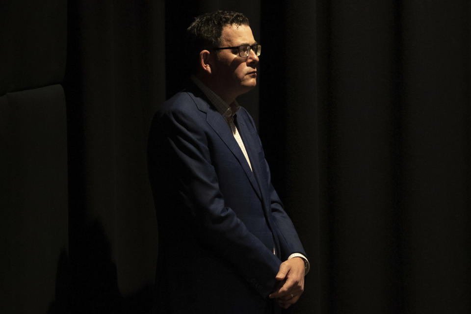 Premier of Victoria Daniel Andrews attends a news conference in Melbourne, Australia, Wednesday, Aug. 5, 2020. Victoria state, Australia's coronavirus hot spot, announced on Monday that businesses will be closed and scaled down in a bid to curb the spread of the virus. (AP Photo/Asanka Brendon Ratnayake)