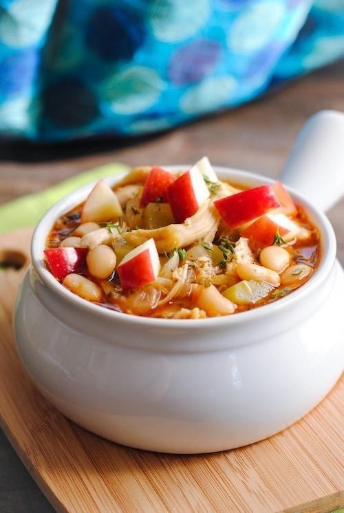 """<p>While apple picking is often a favourite fall activity, you may find you were a little over-zealous in the orchard. Fret not, serve up this delicious chili for a different take on the traditional fall favourite – it won't disappoint. <i>(Photo/recipe via <a href=""""http://foxeslovelemons.com/slow-cooker-autumn-chicken-apple-cider-chili/"""" rel=""""nofollow noopener"""" target=""""_blank"""" data-ylk=""""slk:Foxes Love Lemons"""" class=""""link rapid-noclick-resp"""">Foxes Love Lemons</a>)</i></p>"""