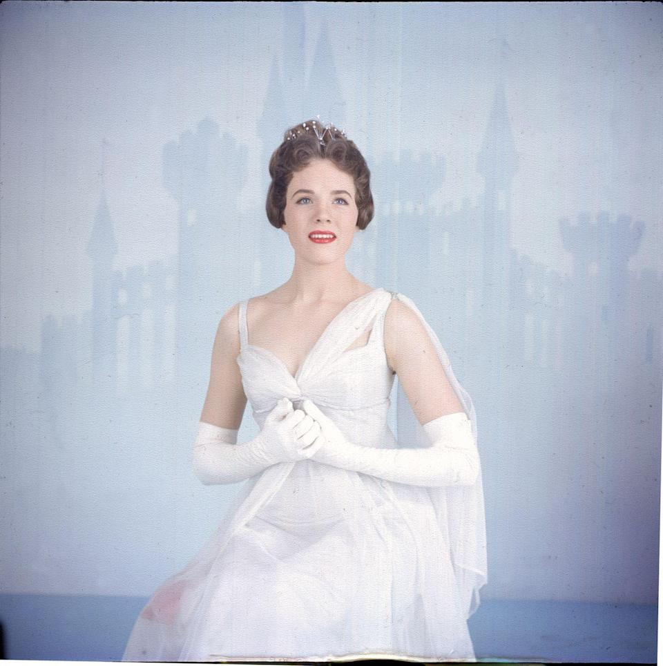 """<p>Julie Andrews is photographed during a live broadcast of the Rodgers and Hammerstein musical """"Cinderella.""""</p>"""