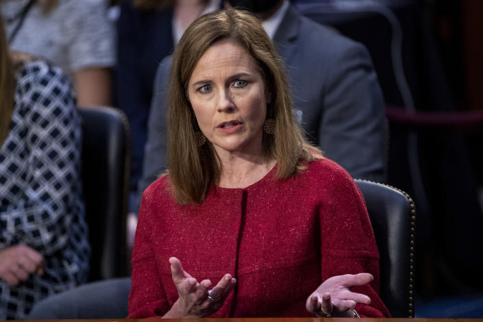 Supreme Court nominee Amy Coney Barrett speaks during a confirmation hearing before the Senate Judiciary Committee, Tuesday, Oct. 13, 2020, on Capitol Hill in Washington. (Shawn Thew/Pool via AP)