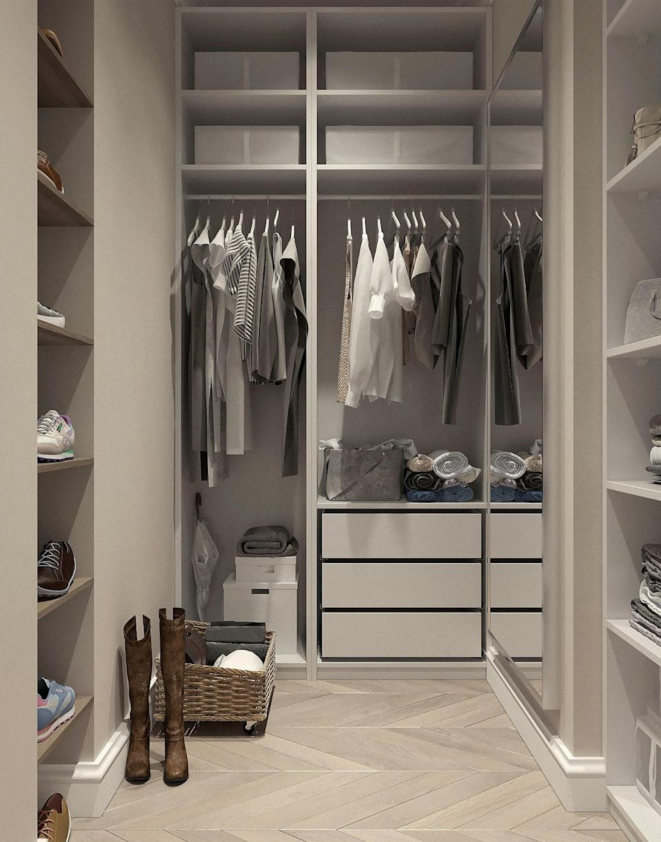 """<p>Nine times out of 10, hanging your clothes trumps folding them. Keeping piles of clothing folded is difficult to maintain and does not allow for the """"easy in, easy out"""" motto that my mom instilled in me. Consider <a href=""""https://www.popsugar.com/home/Hanging-Clothes-Home-Decor-18288609"""" class=""""link rapid-noclick-resp"""" rel=""""nofollow noopener"""" target=""""_blank"""" data-ylk=""""slk:hanging clothes"""">hanging clothes</a> like jeans, sweaters, and smaller tops to avoid disarray and to keep all items clearly visible.</p>"""