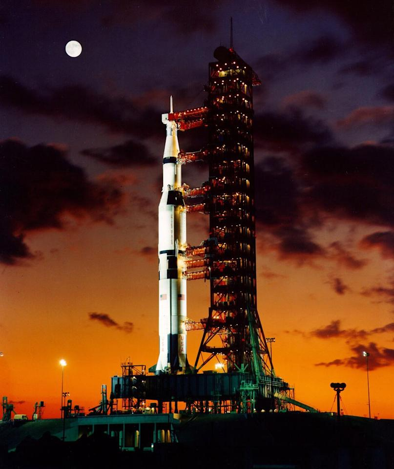 <p>A pre-launch twilight photo of the The Apollo 11 Saturn V space vehicle.</p>
